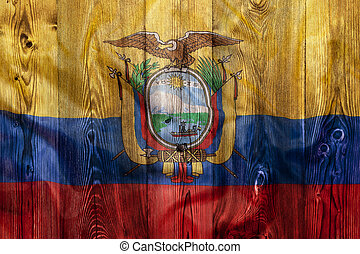 National flag of Ecuador, wooden background