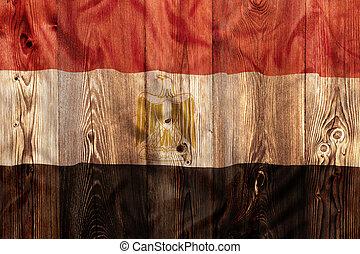 National flag of Egypt, wooden background
