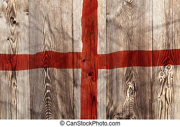National flag of England, wooden background