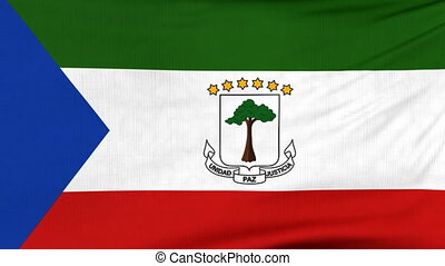 National flag of Equatorial Guinea flying on wind