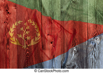 National flag of Eritrea, wooden background