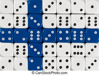 National flag of Finland in background of dices