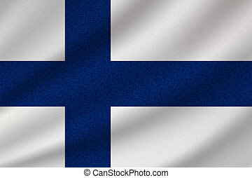 national flag of Finland on wavy cotton fabric. Realistic vector illustration.