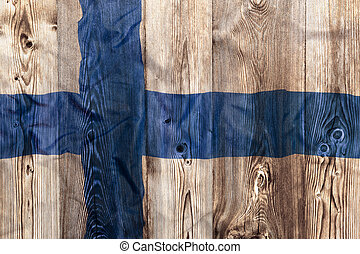 National flag of Finland, wooden background