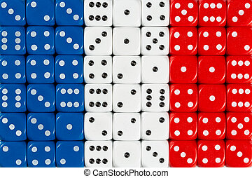National flag of France in background of dices