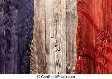 National flag of France, wooden background