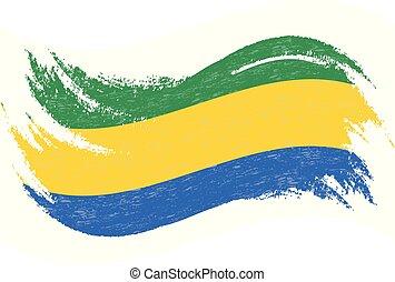 National Flag Of Gabon, Designed Using Brush Strokes, Isolated On A White Background. Vector Illustration.
