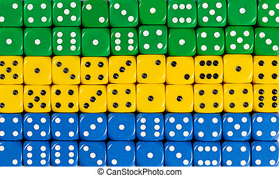 National flag of Gabon in background of dices
