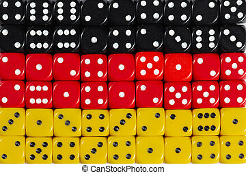National flag of Germany in background of dices