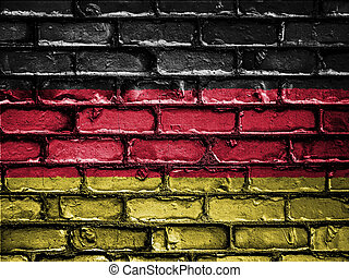National Flag of Germany on a Brick Wall