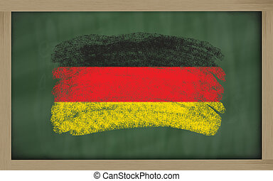 national flag of germany on blackboard painted with chalk