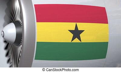 National flag of Ghana on airplane tourbine engine. Aviation...