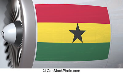 National flag of Ghana on airplane tourbine engine. Aviation related 3D rendering