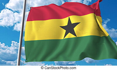 National flag of Ghana on sky background. 3D rendering