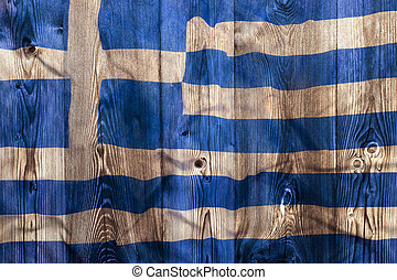 National flag of Greece, wooden background