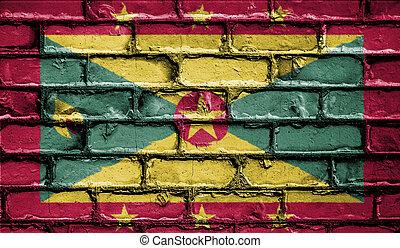 National Flag of Grenada on a Brick Wall