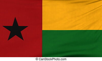 National flag of Guinea Bissau flying on the wind