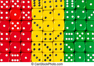 National flag of Guinea in background of dices