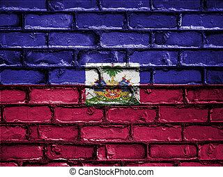 National Flag of Haiti on a Brick Wall