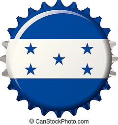 National flag of Honduras on a bottle cap. Vector Illustration