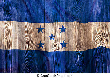 National flag of Honduras, wooden background