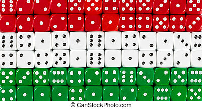National flag of Hungary in background of dices