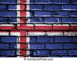 National Flag of Iceland on a Brick Wall