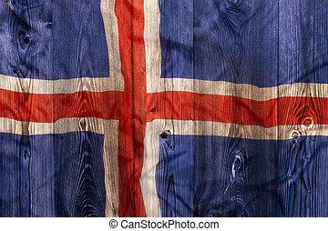 National flag of Iceland, wooden background