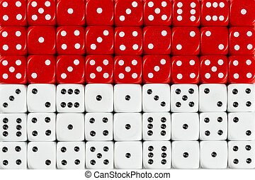 National flag of Indonesia in background of dices