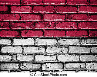 National Flag of Indonesia on a Brick Wall