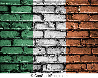 National Flag of Ireland on a Brick Wall