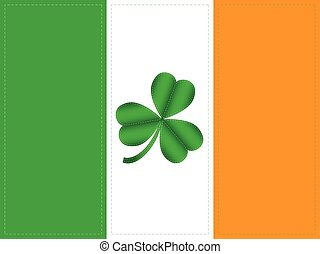 National flag of Ireland with clover symbol