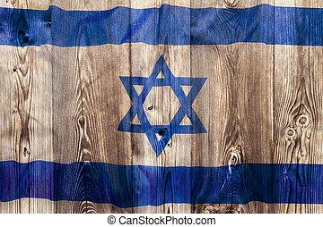 National flag of Israel, wooden background