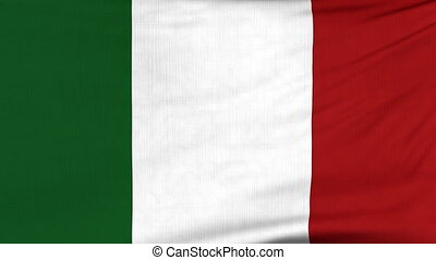 National flag of Italy flying on the wind