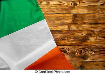 National flag of Italy on wooden background