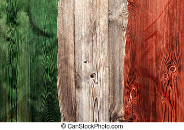National flag of Italy, wooden background
