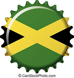 National flag of Jamaica on a bottle cap. Vector Illustration