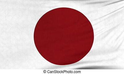 National flag of Japan flying on the wind