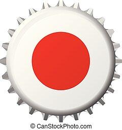 National flag of Japan on a bottle cap. Vector Illustration