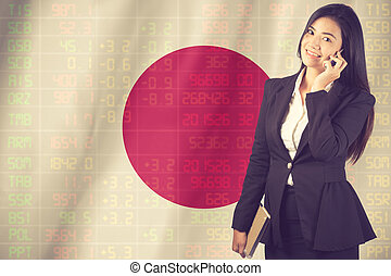 National flag of Japan with a large display of daily stock market price.Vintage Color