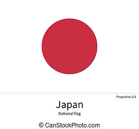 National flag of Japan with correct proportions, element, colors