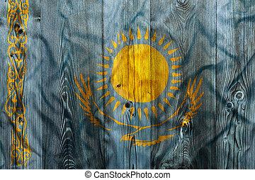 National flag of Kazakhstan, wooden background