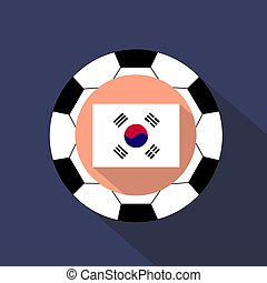 National flag of Korea against the background of a soccer ball.
