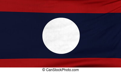 National flag of Laos flying on the wind