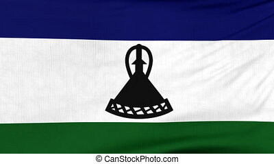 National flag of Lesotho flying on the wind