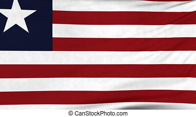 National flag of Liberia flying on the wind