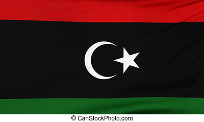 National flag of Libya flying on the wind