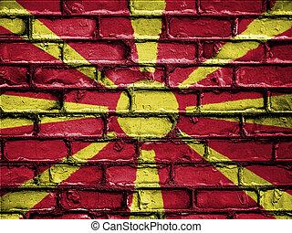 National Flag of Macedonia on a Brick Wall