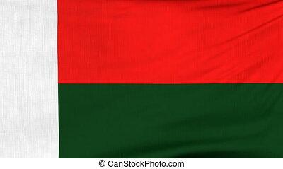 National flag of Madagascar flying on the wind