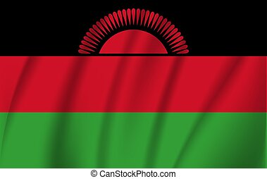 National flag of Malawi. Realistic vector illustration.